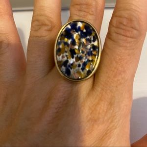 Blue Gold Marbled Stone Ring